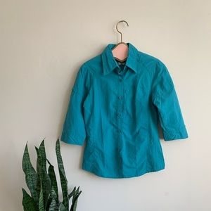 Columbia Blue Omni-Shade 3/4 Sleeve Button up Top